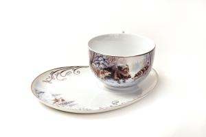 Чашка и тарелка для торта Охота на кабана